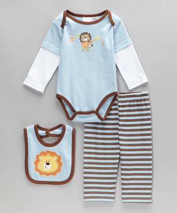 Blue & Brown Lion Bodysuit Set - Infant