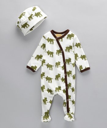 Moose Crossing Organic Footie & Beanie - Infant