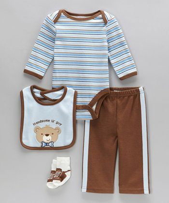Blue 'Handsome Lil' Guy' Bodysuit Set