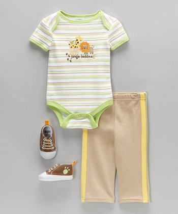 Tan 'Jungle Buddies' Bodysuit Set