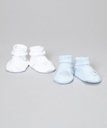 Blue & White Elephant Booties Set