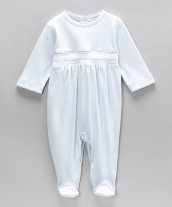 Blue Charles Smocked Footie - Infant
