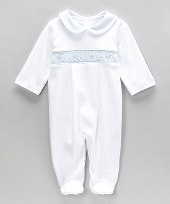 Blue Noa Smocked Footie - Infant