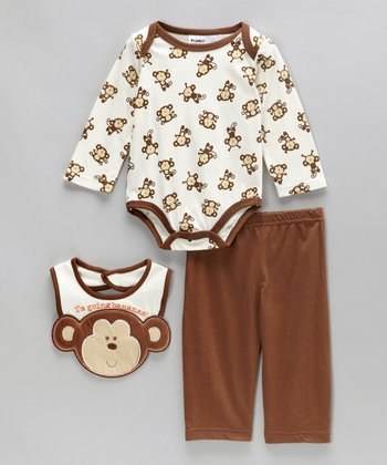 Blue & Brown Monkey Bodysuit Set - Infant