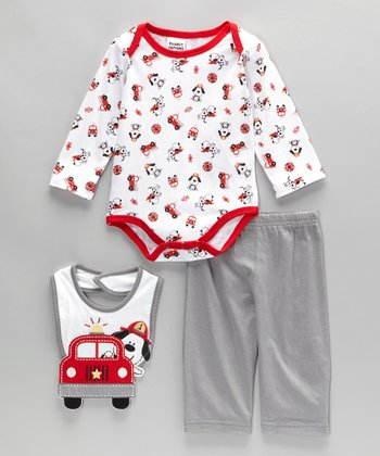 Red & Gray Fire Truck Bodysuit Set - Infant