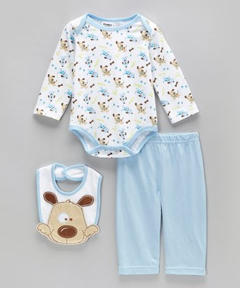 Peanut Buttons Blue Puppy Tails Bodysuit Set - Infant