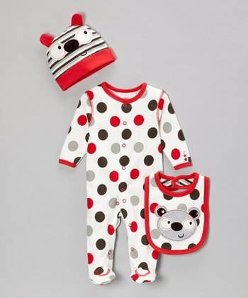 Red & White Panda Polka Dot Footie Set