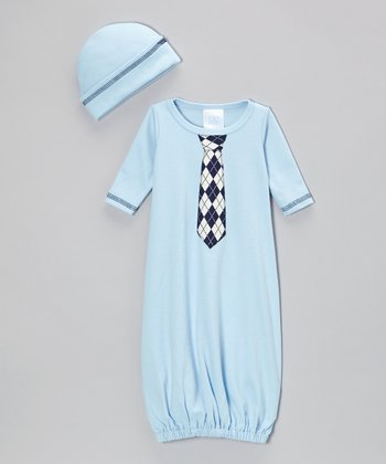 Light Blue Argyle Tie Gown & Beanie - Infant