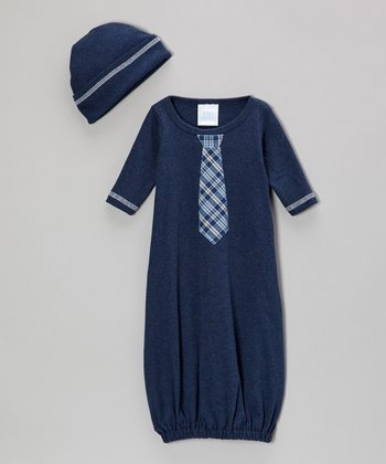 Denim Blue Plaid Tie Gown & Beanie - Infant