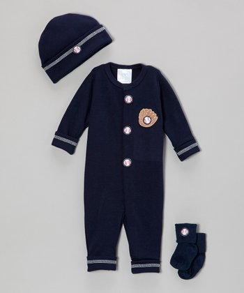 Navy Blue Baseball Mitt Playsuit Set - Infant