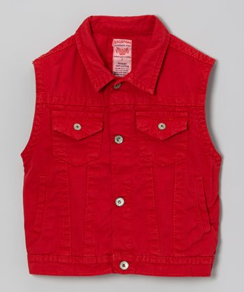 Red Button-Up Denim Vest - Boys
