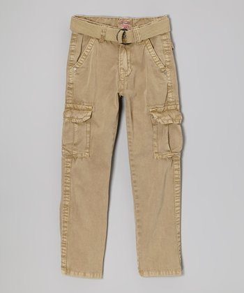 Light Khaki Belted Cargo Pants - Boys