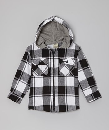 Black & White Plaid Hooded Jacket - Boys