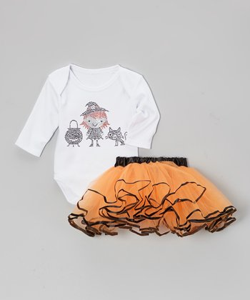White Witch Bodysuit & Orange Tutu - Infant
