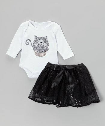 White Kitty Cupcake Bodysuit & Black Tutu - Infant