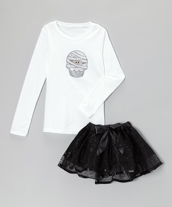 White Mummy Cupcake Tee & Black Tutu - Infant, Toddler & Girls