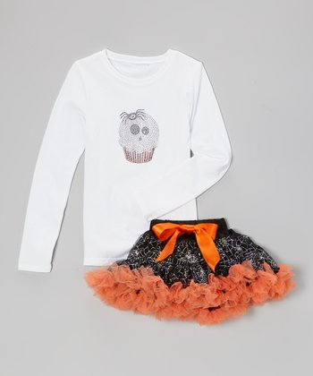 White Ghost Tee & Black Pettiskirt - Infant, Toddler & Girls