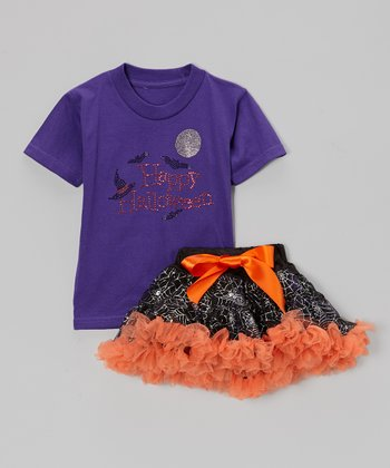 Purple 'Happy Halloween' Tee & Black Pettiskirt - Toddler & Girls