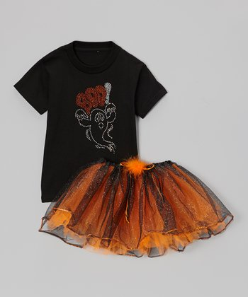 Black 'Boo' Tee & Orange Tutu - Toddler & Girls