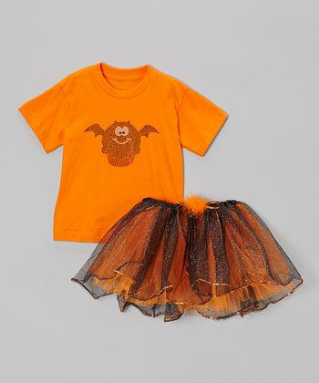 Orange Bat Cupcake Tee & Tutu - Toddler & Girls