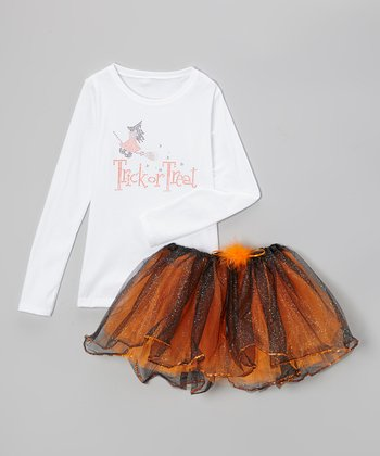 White 'Trick or Treat' Tee & Orange Tutu - Infant, Toddler & Girl