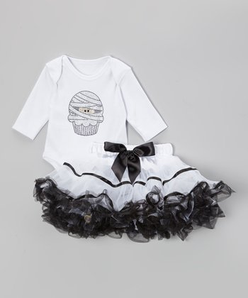 White Mummy Cupcake Bodysuit & Pettiskirt - Infant