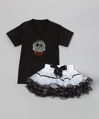 Black Ghost Cupcake Tee & White Pettiskirt - Toddler & Girls