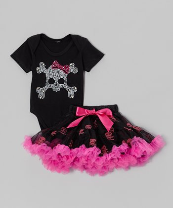 Black Skull Bodysuit & Pettiskirt - Infant