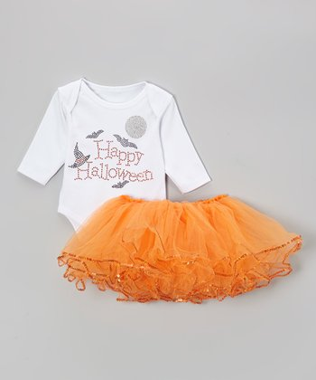 White 'Happy Halloween' Bodysuit & Orange Tutu - Infant
