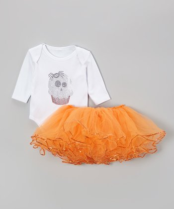 White Ghost Cupcake Bodysuit & Orange Tutu - Infant