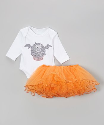 White Bat Cupcake Bodysuit & Orange Tutu - Infant