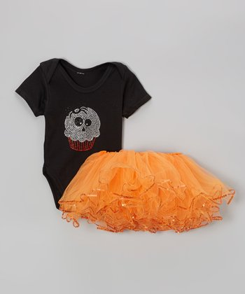 Black Ghost Cupcake Bodysuit & Orange Tutu - Infant