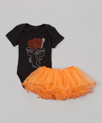 Black 'Boo' Bodysuit & Orange Tutu - Infant