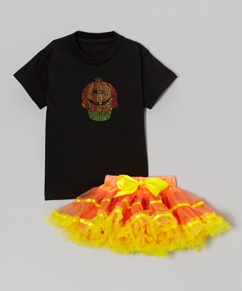 Black Pumpkin Cupcake Tee & Orange Pettiskirt - Toddler & Girls