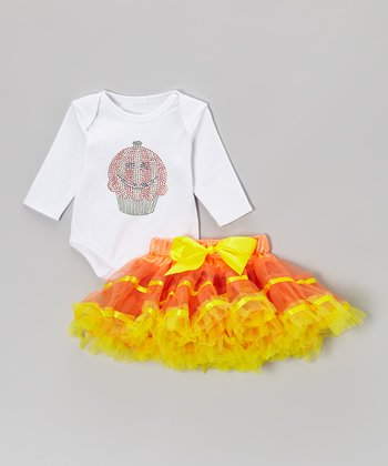White Pumpkin Cupcake Bodysuit & Orange Pettiskirt - Infant