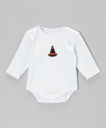 White & Orange Witch Hat Bodysuit - Infant
