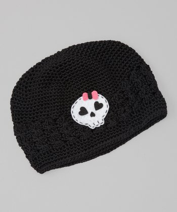 Black Skull Crocheted Beanie