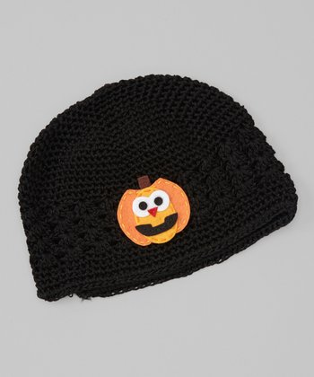 Black Pumpkin Crocheted Beanie