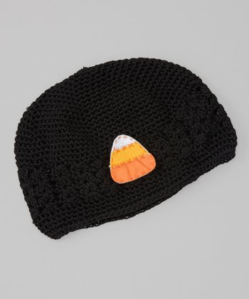 Black Candy Corn Crocheted Beanie