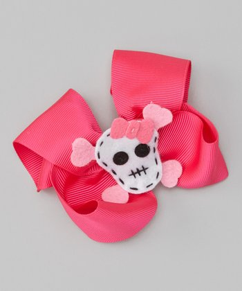 Hot Pink Skull Bow Clip