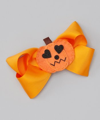 Orange Pumpkin Heart Bow Clip