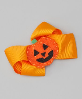 Orange Pumpkin Bow Clip