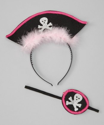 Hot Pink Pirate Headband & Eye Patch