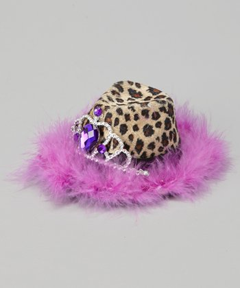 Leopard & Purple Fedora Bow Clip