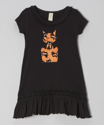 Black & Orange Cat Dress - Infant, Toddler & Girls