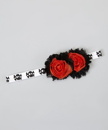 Black & Orange Lace Flower Skull Headband