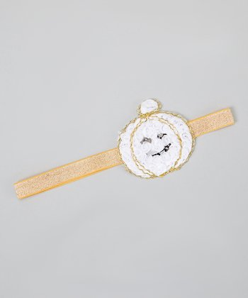 White & Gold Glitter Rosette Pumpkin Headband