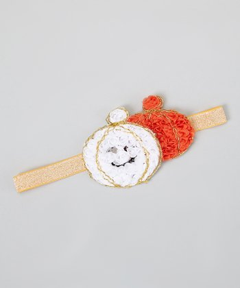 White & Orange Glitter Rosette Pumpkin Headband