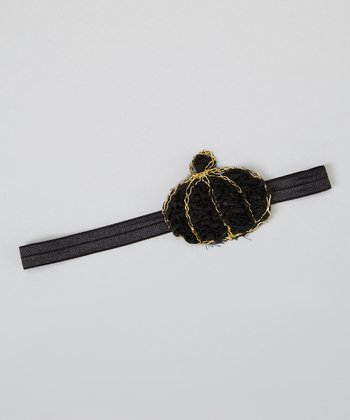 Black Rosette Pumpkin Headband