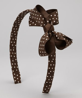 Brown Polka Dot Bow Headband